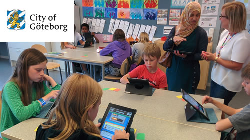 Students using iPads in a Maths class