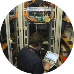 Engineer configuring the D-Link Switches